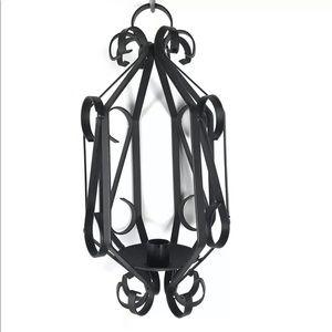 Black Wrought Iron Candle Holder Lantern Black